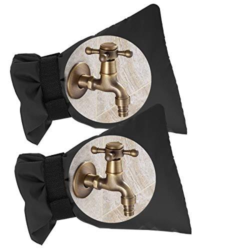 Housolution Funda Grifo Exterior, [2 Pzs] Chaqueta Protectora Repetible Impermeable Ajuste Universal para Grifos Jardin al Aire Libre para Invierno Anticongelante Protección, 22x15cm - Negro