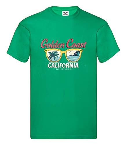 Camiseta de Golden Coast California de gafas de sol, camiseta para hombre y hombre Kelly Green XXXXL