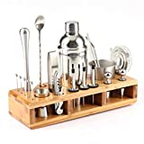 Noblik 23 Piezas de Acero Inoxidable Cocktail Shaker Set Barware Kit con Bastidor Cuadrado para Barman Drink Party Bar Tools