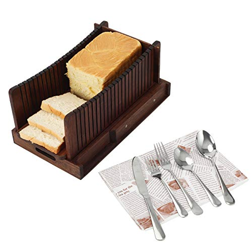 TQVAI Natural Bamboo Homemade Bread Slicer with Crumb Tray Bread Cutter for Loaf Cakes, Bagels, Retro Brown