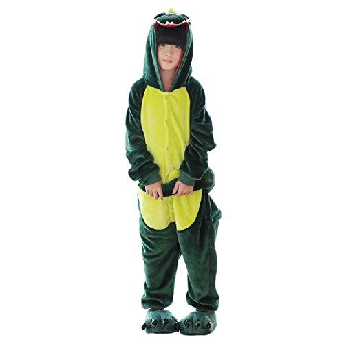 DarkCom Tier Kostüm Onesie Kinder Weihnachten FaschingsKostüm Cosplay Anime Schlafanzu Nachtwäsche Dinosaurier Grünes