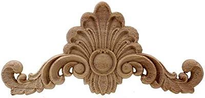 Vintage unpainted wood carved corner onlay applique frame