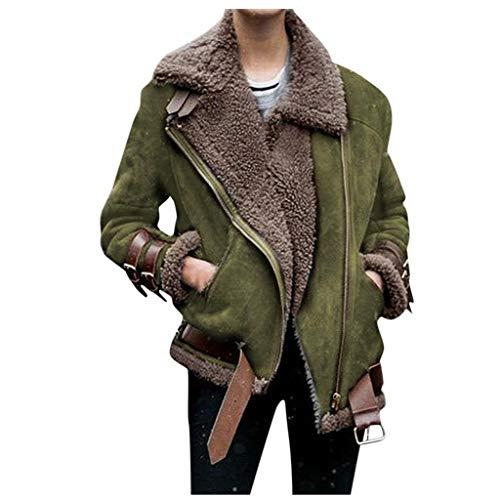 SHOBDW Winter Frauen Faux Fur Fleece Coat Outwear Warme Revers Biker Motorjacke Lose Mantel Langarm Revers Outwear Reißverschluss Winterjacke Revers Wollmantel Trenchjacke