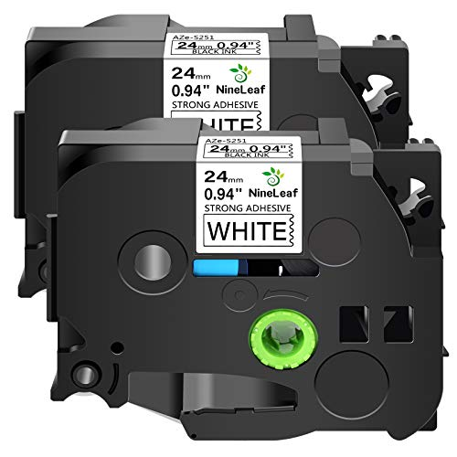 """NineLeaf 2 Pack Extra Strength Label Tapes Compatible for Brother Laminated TZ-S251 TZe S251 TZeS251 TZS251 Black on White 24mm 1"""" x 8m 26.2ft for P-Touch PT-D600 P900W P700 2430PC Label Maker"""