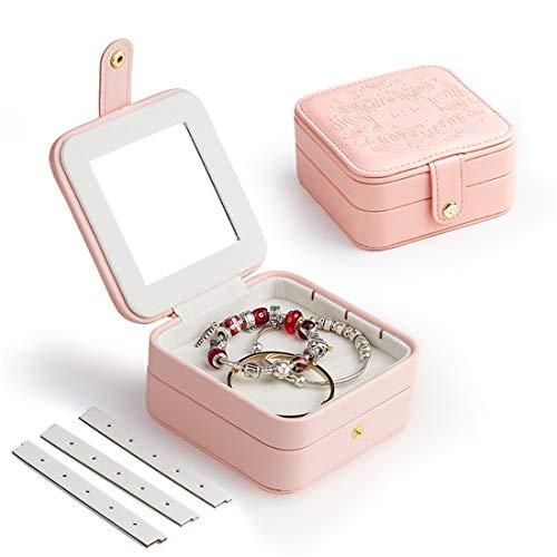 An baby123 Portable jewelry box small mini cute travel simple small princess European Korean small jewelry storage box (Color : Pink)