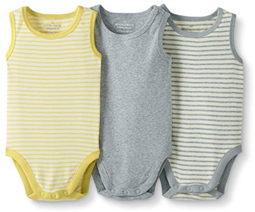 Moon and Back de Hanna Andersson - Pack de 3 bodis sin mangas de algodón orgánico para bebé,...