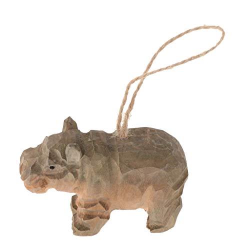 Inzopo geschnitztes Tier-Ornament aus Holz, 3D-Wildtier-Modell, handgefertigt, zum Aufhängen, Holzfiguren, Skulptur, Holzornament, Dekoration mit Schnur – Nilpferd, 8,5 x 3,2 x 5,5 cm