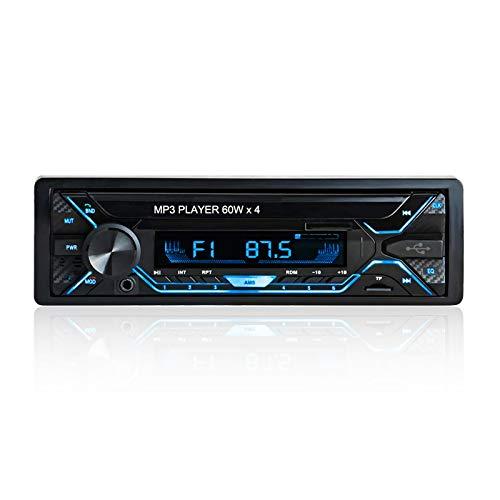 Aigoss Radio Coche Bluetooth de Manos Libres,60W x 4 Autoradio Bluetooth FM Estéreo 1 DIN Universal , 5 Colores Luz de Fondo con Incluido Control Remoto, Compatible con FM/ BT/ USB/ TF/ SD/ AUX
