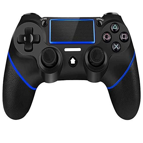 YUES Mando para PS4,para Playstation 4/Pro/Slim/3/PC y ordenador portátil.Inalámbrico Gamepad con panel táctil de doble vibración y función de audio y barra de luces,Azul