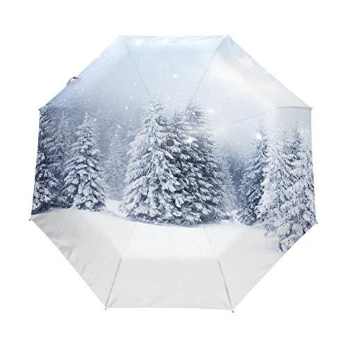 Kleiner Reiseschirm Winddicht im Freien Regen Sonne UV Auto Compact 3-Fach Regenschirm Abdeckung - Weihnachtsbäume verschneit