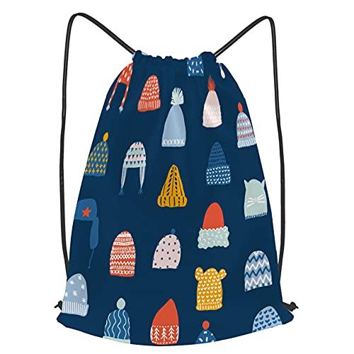 YMWEI Impermeable Bolsa de Cuerdas Saco de Gimnasio invierno, seamless, patrón, sombreros, vector, navidad Deporte Mochila para Playa Viaje Natación