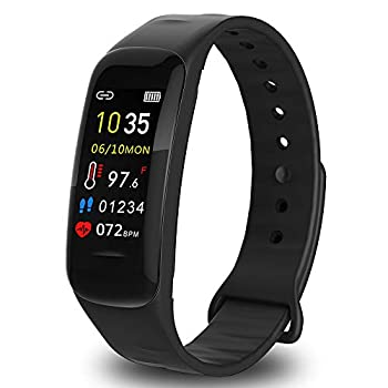 AUBEINSON Fitness Tracker with Oxygen Monitor,Activity Tracker Watch with Body Temperature Blood Pressure Heart Rate Monitor,Smart Watch with Steps Watch,Pedometer Watch for Kids Women Men  B-Black