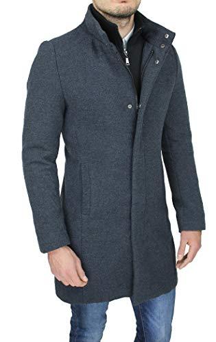 Cappotto Uomo Grigio Sartoriale Casual Elegante Slim Fit Giaccone Soprabito Invernale con Gilet Interno (XL, Grigio)