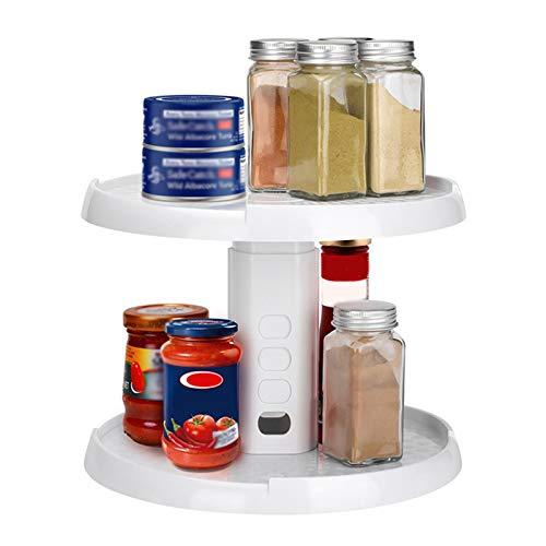knowledgi Armario de cocina Crazy Susan de 2 niveles de altura ajustable, tocadiscos y organizador de Spice que se puede girar 360 °.