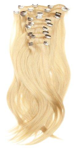 Love Hair Extensions - LHE/A1/QFC/120G/10PCS/18/22 - 100 % Cheveux Naturels Lisses et Soyeux - 10 Pièces Clippants en Extensions - Couleur 22 - Blond Plage - 46 cm