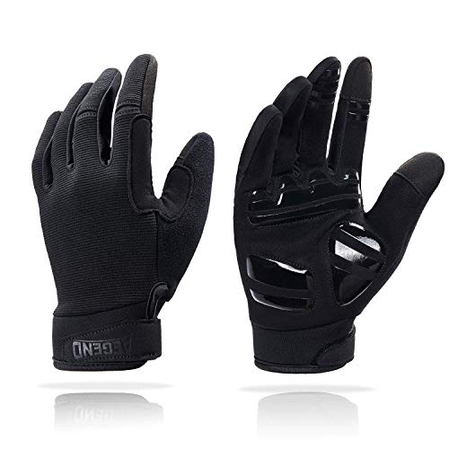 Aegend Adjustable Thin Cycling Gloves - Touch Screen, Anti-Slip Full Finger Mountain Bike Gloves - Breathable Sports Gloves for Biking, Workout - Unisex Motorcycle Gloves for Men/Women, L