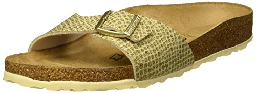 BIRKENSTOCK Damen Madrid Pantoletten, Gold (Magic Snake Gold Magic Snake Gold), 37 EU