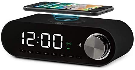 COBY Digital LED Alarm Clock Built In 10W HD Bluetooth Speakers FM Radio QI Certified Fast Wireless product image