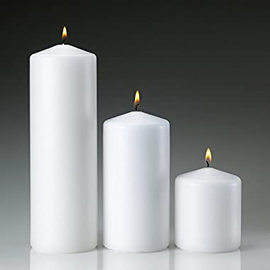 Light In the Dark White Pillar Candle Variety Set - 3 Unscented Pillar Candles - Set includes 3 ,6  and 9  Candles