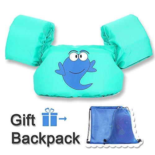 TEWENE Kid Toddler Swim Vest Life Jacket Vest Swimming Jacket Kid Floaties Vest with Adjustable Chest Strap and Storage Bag Suitable for 22-66 lbs/Beach/Pool/Ocean (Dark Green Whale)