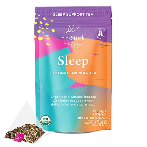Pink Stork Sleep Tea: Coconut Lavender, Oat Straw Sleep Tea, 100% Organic, Supports Falling and Staying Asleep, Women-Owned, 30 Cups