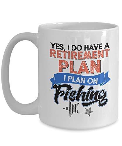 Egoa porseleinen beker met pensioen Ja, ik heb een pensionistenplan en ik heb een programma voor het vissen, beter in de pensioen en vissen, mok van keramiek, cadeau en kopje van porselein