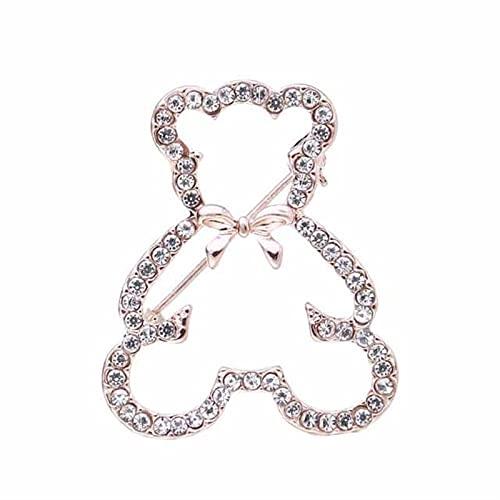 hcma Clásico Lindo Oso de Peluche Diamantes de imitación Bowknot decoración broches de Animales para Mujeres Pines de Cristal Oso Polar Broche Pines joyería