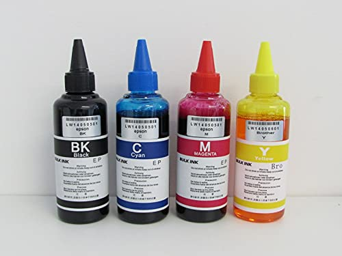 4 botes de tinta de 100 ml para impresoras Epson.
