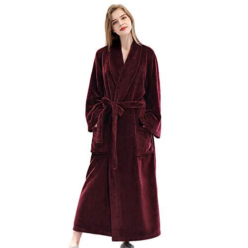 CNMF Badjas saunamantel unisex dames lange dikke lange mouwen plaid print Tailleflanel effen gebreide jas thuis absorberend zacht en comfortabel warm pyjama