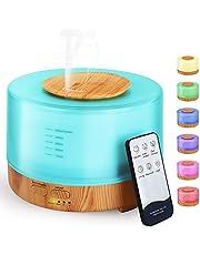 Hianjoo Aroma diffuser, 500 ml, luchtbevochtiger met timer, ultrasone aromatherapie diffuser, led met 7 kleuren, voor kantoor, yoga, spa, slaapkamer