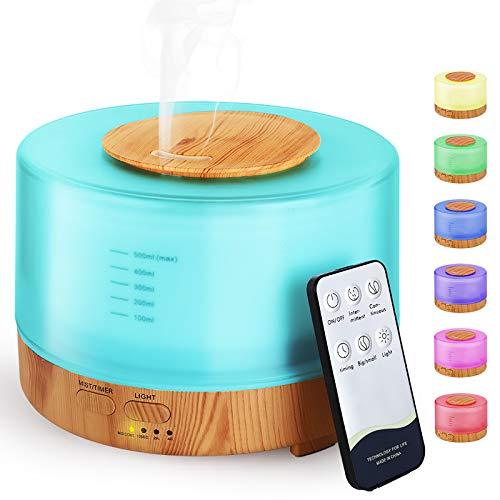 Hianjoo Aroma Diffuser 500ml Luftbefeuchter mit Timer, Ultraschall Aromatherapie Diffusor LED mit 7 Farben für Büro,Yoga,Spa,Schlafzimmer
