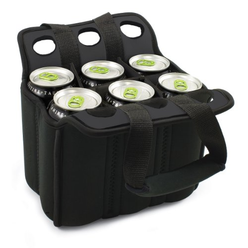 Picnic Time Six Pack Insulated Beverage Tote, Black