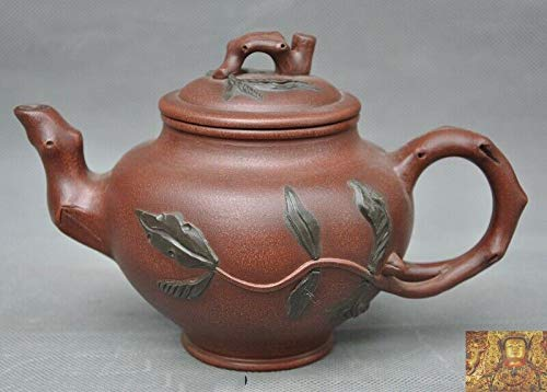 SIYAO Wedding Decoration Old Chinese Yixing Zisha Pottery Hand-Carved Peach Leaf Teapot Tea Set Tea Maker