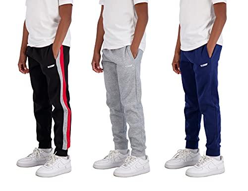 Hind Boys - Paquete de 3 pantalones de chándal de forro polar y tricot con bolsillos para ropa deportiva y casual, Pantalones de chándal, Negro-Gris-Azul, 14-16