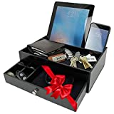 Valet Drawer Charging Station – Wooden Black Nightstand Organizer Wallet And Key Tray Holds Watches, Jewelry, Tablet - 5 Compartment Cell Phone Holder for Men And Women