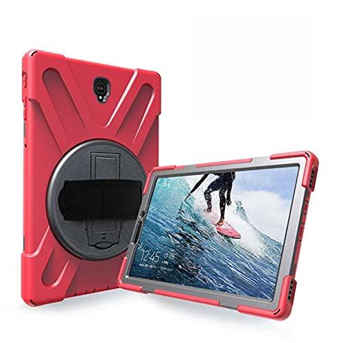 QiuKui Tab Funda para Samsung Galaxy Tab S4 10.5 SM-T830 T835, Cubierta de la Caja de rotación de la Correa de Mano 360 para Samsung T830 T835 (Color : Red)