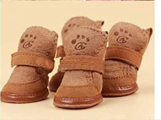 YBAA Pet Dog Christmas Shoes Winter Warm Shoes for Dog Pet Dog Chihuahua Boots Puppy Shoes for Small Dog (Color : Brown, S...