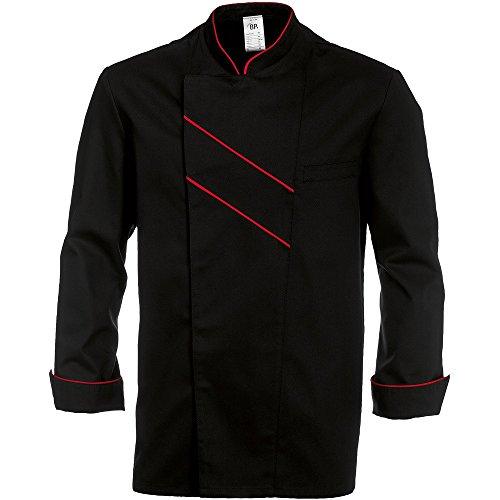 BP 1538-400-3281-58 - Chaqueta de cocinero de manga larga con puños (215,00 g/m²), color negro y rojo