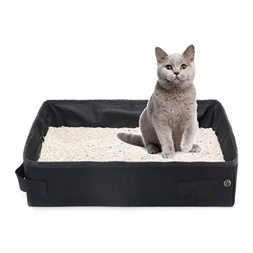 Mysida Cat Litter Box Arena for Gatos Caja Plegable portátil Impermeable Camas de Animales domésticos Bandeja portadora for Acampar Viajar (Color : Black)