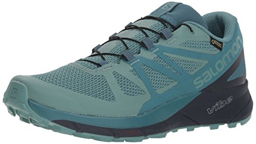 Salomon Women's Sense Ride GTX Invisible Fit Trail Running Shoes, Trellis/Graphite/Hydro., 5