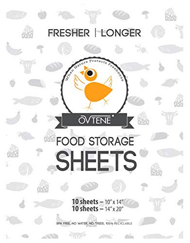 OVTENE Food Storage Sheets for Cheese, Meat, and Produce - Keeps Food Fresher Longer (20 Sheets)