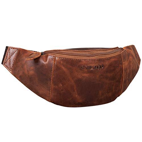 STILORD 'Shawn' Leder Gürteltasche groß Vintage Bauchtasche Festivaltasche Hüfttasche für Herren und Damen 7 Zoll Reisetasche Voll-Leder, Farbe:antik - Used