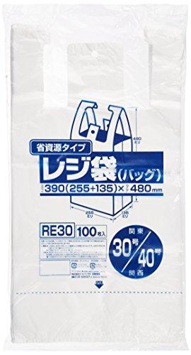 省資源タイプ レジ袋 100枚入 RE-30 [乳白]