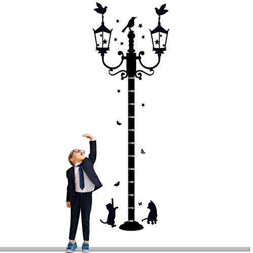 Medidor Altura Vinilo Gráfico de Crecimiento Infantil Pegatinas de Pared 60x176cm Decorativas Adhesiva para Dormitorio Salón Guardería Habitación Infantiles Niños (Farola negro con gato)