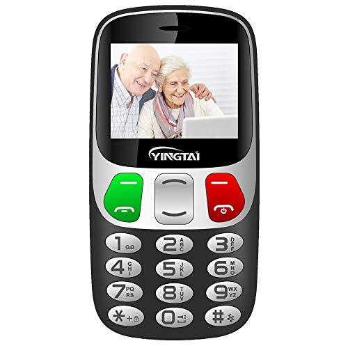 Seniorenhandy mit Großen Tasten und Mobiltelefon Handy Notruffunktion mit SOS-Taste by YINGTAI T47 2G (Schwarz)