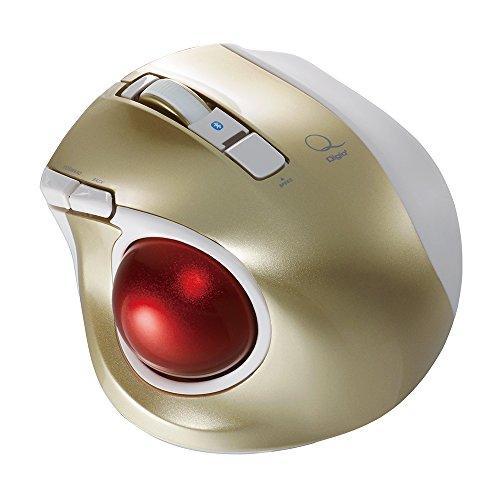Digio2Q小型トラックボールBluetoothマウス静音5ボタンゴールド48374