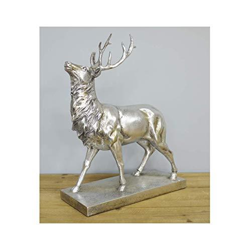 Stunning Large Silver Stag Deer Reindeer Antlers Ornament Statue Figure on Base