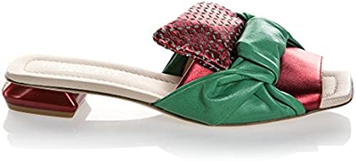 FIOrangeLO 6532 Damen Sandalen aus Leder, 2,5 cm, Grün Rot