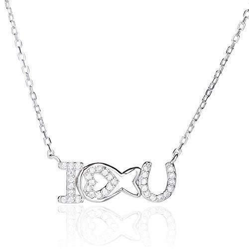 HWADMW S925 Sterlingsilber Japanischer Diamant Pfirsich Herz Brief Halskette Geständnis Valentinstag iloveyou Fisch Geschenk Schlüsselbein Kette