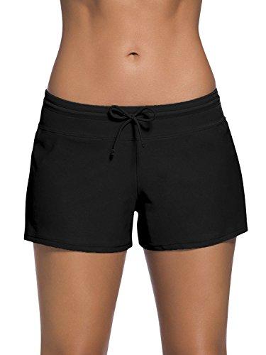 Dolamen Damen Badeshorts Bikinihose Shorts Trunks Badeanzug Bauchweg Badekleid mit verstellbarem Tunnelzug Mini Bikini Slip Beachwear, Boyleg Stil (Medium, Schwarz)